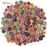 Botones de madera YMWALK 300 piezas con forma redonda impresa,color mixto y tamaño para costura, manualidades, decoración, bricolaje, vestido (10 mm, 20 mm y 25 mm, 100 unidades cada uno)
