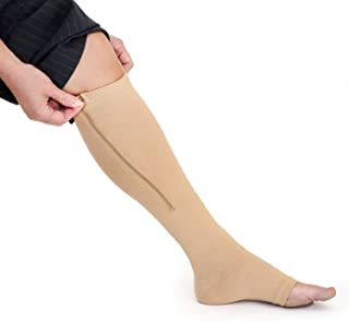 Zippered Compression Socks with Open Toe - Best Leg Support Stocking 15-20mmHg (3XL - Calf 17-19in, Beige)