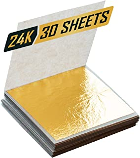 """Premium Golden Yellow Edible 24k Gold Leaf Sheets 1.5""""x1.5"""" Made of 99.99% Real Gold Used in Beauty Routine and Makeup, Bakery and Pastry eg. Cake, Art Decoration for Art and Craft Work or Accessories"""