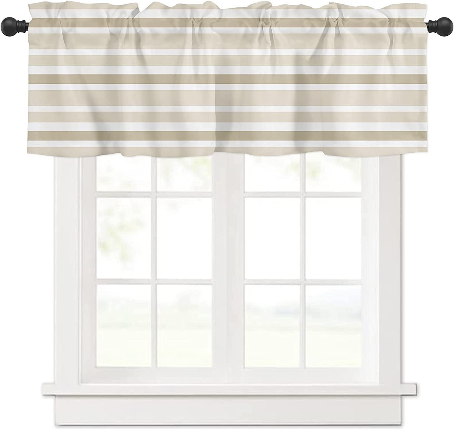 Beige and Fixed price for sale Brown White New item Nautical Stripes Wind Curtain Valances