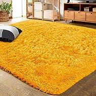 LOCHAS Ultra Soft Indoor Modern Area Rugs Fluffy Living Room Carpets for Children Bedroom Home Decor Nursery Rug 5.3x7.5 Feet, Light Orange