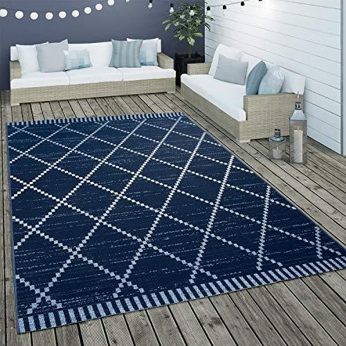 Paco Home In- & Outdoor Flachgewebe Teppich Ethno Geometrisch Skandi-Design In Blau Weiß, Grösse:120x170 cm