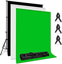 Amzdeal Photography Backdrop Stand 6.6ft X 10ft Photo Backdrop Stand Kit Washable White Black Green Background Stand Support System with 3 Clamps and a Carrying Bag