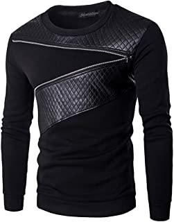 Men's Zipper Stitching Faux Leather Pullover Sweater Sweatshirts D726