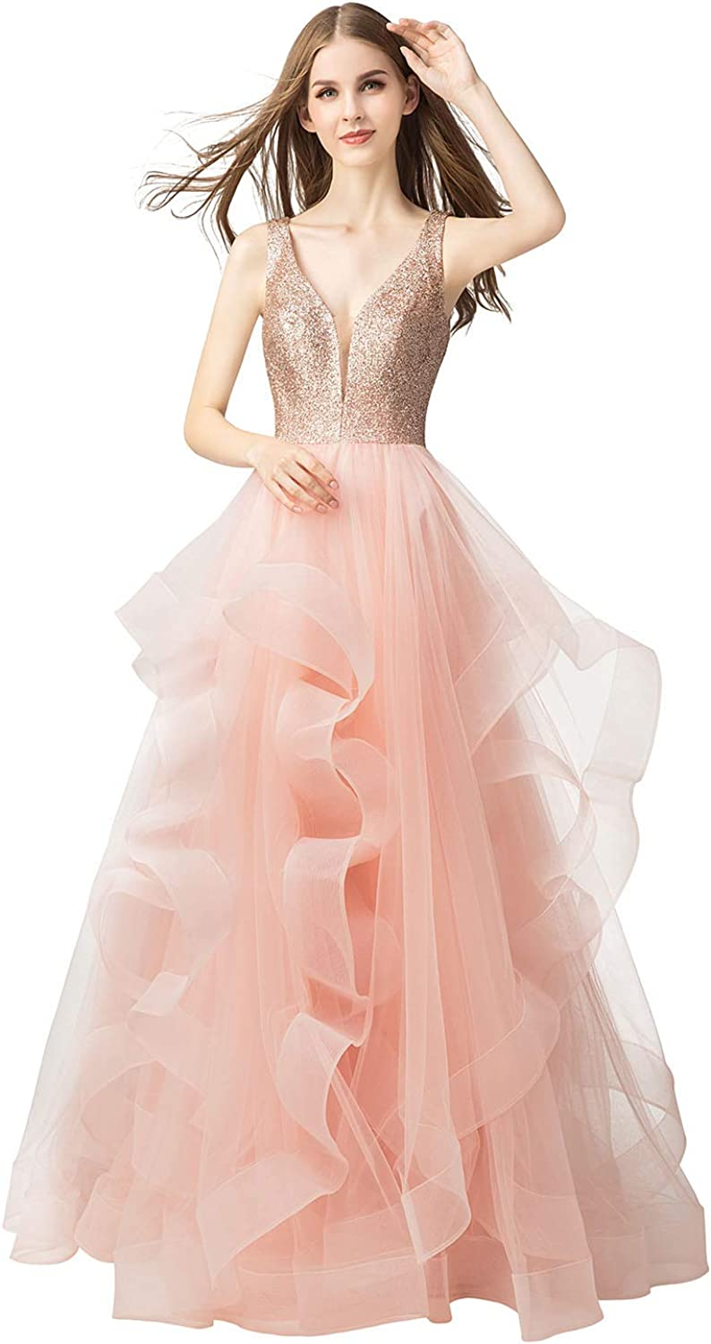 Belle House Women Long Prom Dress Tulle V Neck Sequins Ball Gown Pink Backless Party Dresses