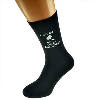 Trust me I'm an Auctioneer & Gavel Image Design Mens Black Cotton Rich Socks