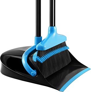 Homemaxs Broom and Dustpan Set, [Newest 2019] Long Handle Broom with Dustpan, Upright Dustpan with Upgrade Combo for Thorough Sweeping, Good Grip Dustpan and Lobby Broom for Pet Hair