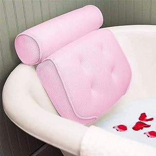 N\A Almohada de baño con ventosas, transpirable 3D malla cojín de baño para cabeza y cuello, se adapta a todo tipo de bañera para el hogar (rosa)