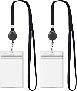 2018 Updated CarryLuxe Lanyard with ID Holder Sets (Black,2 Pack)- Flat Polyester ID Lanyard with Retractable Badge Reel &...