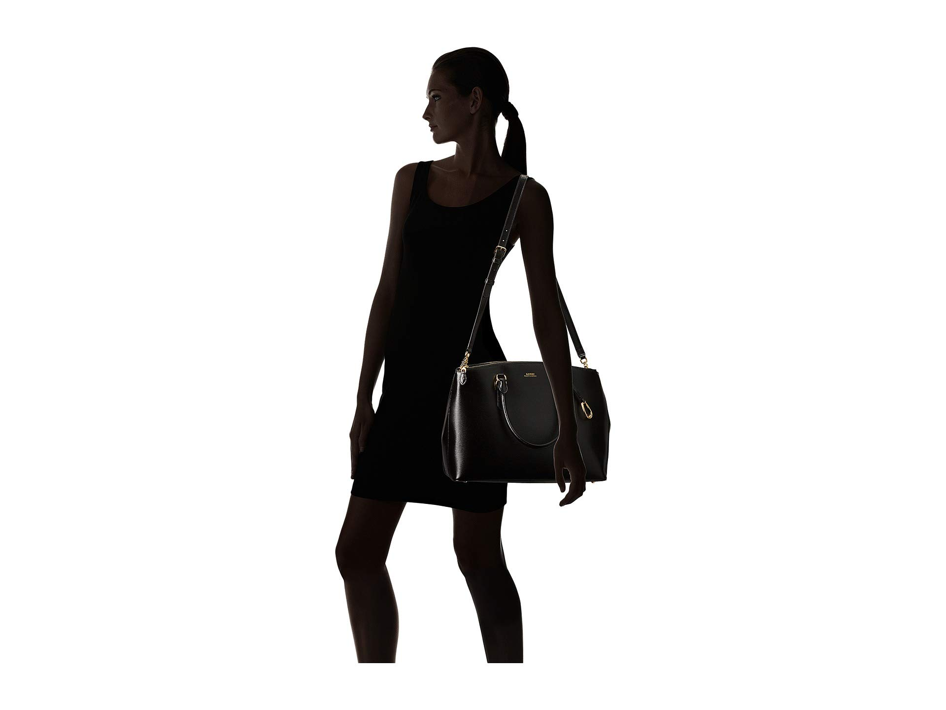 Ralph Lauren Satchel Black Zip Double Bennington P7xwqzvxf