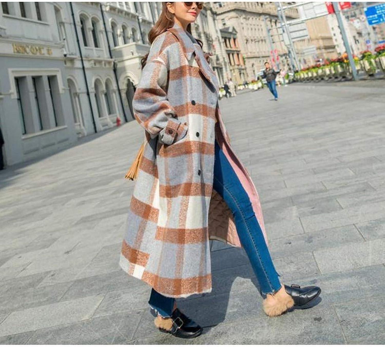 Winter Vintage Plaid Wool Coat, LongSleeved Jacket, Female Long Temperament Thick Woolen Coat PLLP