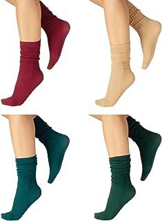 CALZITALY, PACK 4 PARES Calcetines sin Cinturón Elástico, Calcetines Mujer, Calcetines Brillantes, Mini Medias a Rayas | 60 DEN | Made in Italy