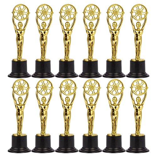 Juvale - Juego de 12 trofeos de plástico para niños, ideal para profesores, color dorado y negro.