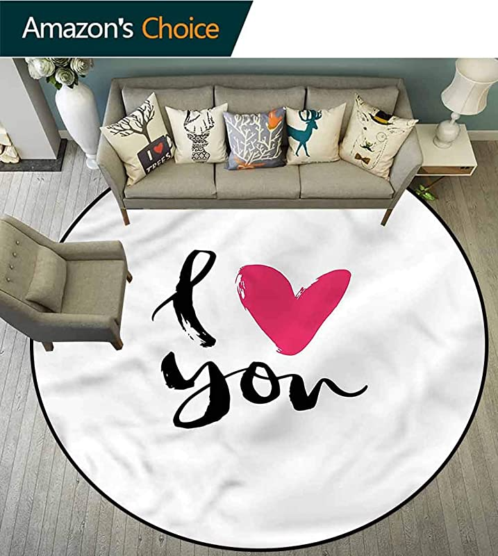RUGSMAT Love Round Area Rug Hand Drawn Design Romantic Carpet Door Pad For Bedroom Living Room Balcony Kitchen Mat Diameter 47