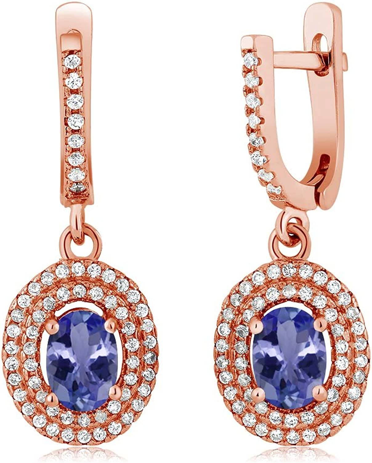 2.32 Ct Oval bluee Tanzanite AAAA 18K pink gold Plated Silver Earrings