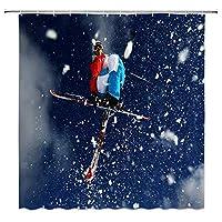空気中のスキースキーヤー浴室の窓の装飾のための生地のホックが付いているポリエステル防水シャワー・カーテン60X72in