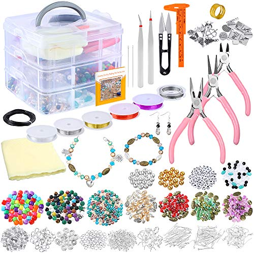 PP OPOUNT Deluxe Jewelry Making Supplies Kit with Instructions Includes Assorted Beads, Charms,...
