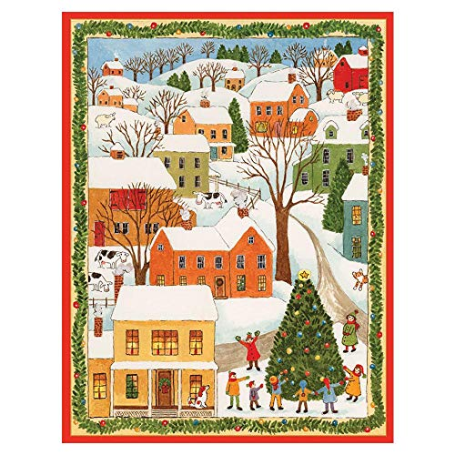 Caspari Town Scene with Children Boxed Christmas Cards - 32 Cards & Envelopes