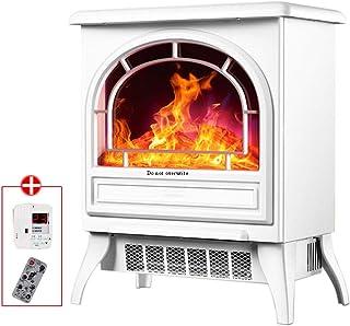 Calentador de chimenea eléctrico LTABC Estufa de chimenea eléctrica infrarroja 3D con calefacción de alambre calefactor Dos engranajes Calentador de espacio portátil portátil con control remoto 1800