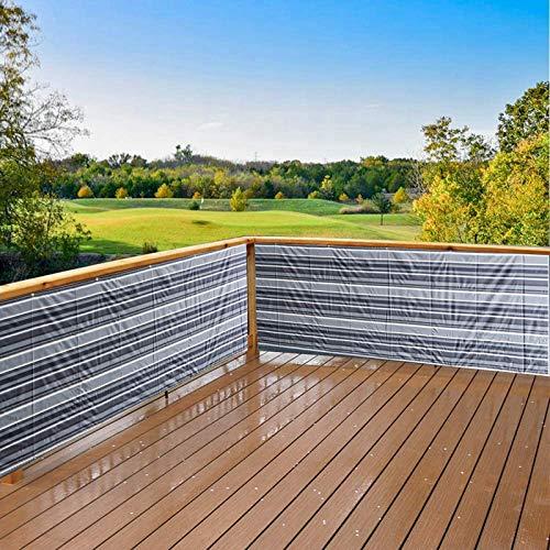 Aiyaoo Balkon Blickdicht Sichtschutz 85cm x 700cm- Balkonumrandung Uv-Schutz, Robuste Blend, für den Gartenzaun oder Balkon - Schwarz-weiß gestreift