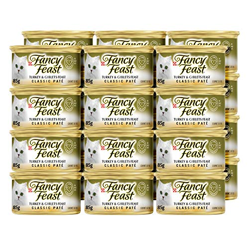 Purina Fancy Feast Grain Free Pate Wet Cat Food, Classic Pate Turkey & Giblets Feast - (24) 3 oz. Cans