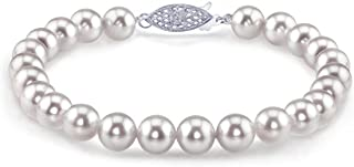 THE PEARL SOURCE 14K Gold 7-7.5mm Round White Japanese Akoya Saltwater Cultured Pearl Bracelet for Women
