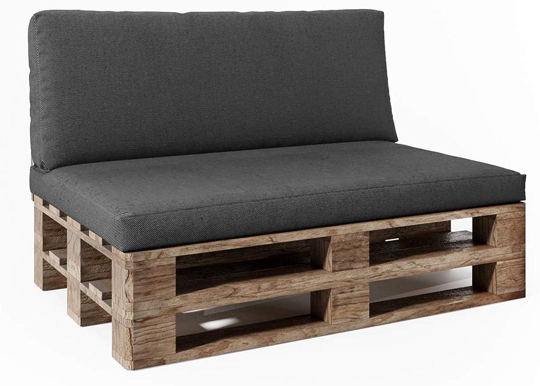 Oskar Vicco Palettenkissen Set Sitzkissen Rückenkissen Palettenmbel Anthrazit Grau (Sitz+Rückenkissen, Anthrazit)