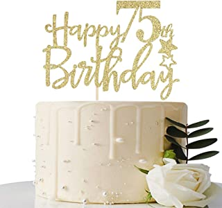MaiCaiffe Gold Glitter Happy 75th Birthday Cake Topper,Hello 75, Cheers to 75 Years,75 & Fabulous Party Decoration