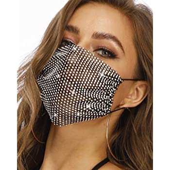 Fstrend Sparkly Rhinestone Mesh Cover Black Bling Crystal Masquerade Ball Party Nightclub Mouth Covering for Women and Girls