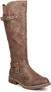 Women Distressed Leatherette Knee High Round Toe Riding Boot DB61 - Khaki