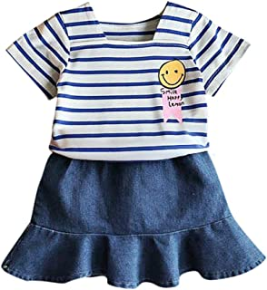 EEFRVDFFDE Baby Girls Dresses Girls Cute Print Long Sleeved Tops Fishtail Wear Sweet Skirt Two Piece