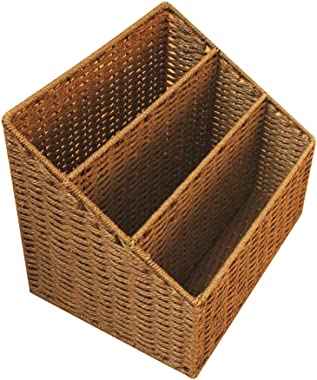 DaFei Storage Bins, Small Lightweight Robust Weaving Portable Desktop Wicker Basket Container Box (Color : Brown)
