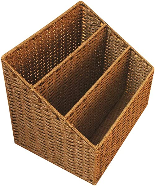 DaFei Storage Bins Small Lightweight Robust Weaving Portable Desktop Wicker Basket Container Box Color Brown