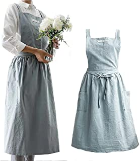 Cotton and linen Cross Back Kitchen Cooking Aprons for Women with Pockets Cute for Baking Painting Gardening Cleaning