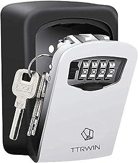 TTRWIN Key Lock Box for Outside, 4 Digit Zinc alloy Wall Mounted Spare Key Safe Box, Portable Weather Resistant Key Storag...