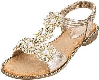 d56af2557efe35 ABASSKY Summer Women Ladies Bohemia Sunflower Crystal Flat Sandals Beach  Peep Toe Shoes