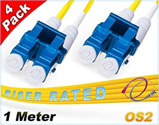 FiberCablesDirect 4Pk 1M OS2 LC LC Single Mode Fiber Patch Cables - 4 Pack | Duplex 9/125 LC to LC Singlemode Jumper Cord 1 Meter (3.28ft) | Pack Options: 2, 4, 6, 10, 12, 24 | Patch-Cord lc-lc