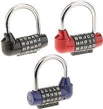 Homyl Pacote com 3 cadeados de segurança resistente com combinação de 5 letras para casa, portão, caixa, caixa de ferramen...