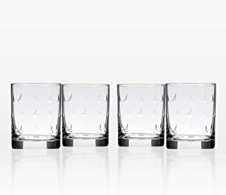 Rolf Glass Sailing Double Old Fashioned Glass 14 ounce - Whiskey Glass Set of 4 - Lead Free Crystal Glass - Etched Whiskey Tumbler Glasses - Made in the USA