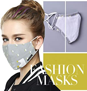 Mouth Face Masks (One Mask +2 Wpes) Washable Reusable Fashion Safety Respirator for Cycling Keep Moisture Out for Women