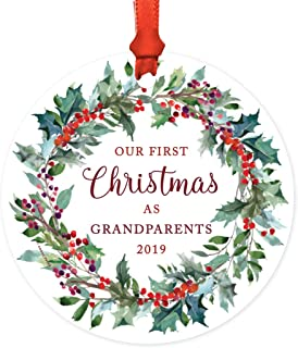 Andaz Press Custom Year Family Metal Christmas Ornament, Our First Christmas As Grandparents 2019, Red Holiday Wreath, 1-Pack, Includes Ribbon and Gift Bag
