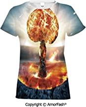 Girl's Casual Button Down Short Sleeve Shirt,War Home Decor,Atomic Explosion Mus