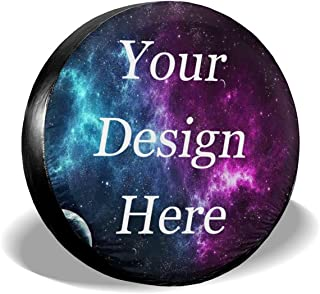 Custom Spare Tire Covers Personalized Text Add Your Own Design Waterproof Universal Spare Tire Cover for Jeep Truck Trailer RV SUV and Many Vehicle