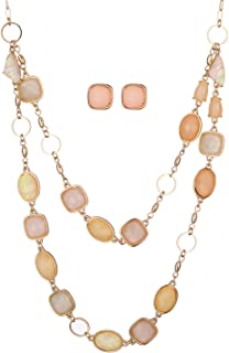 Gold Baby Pink Peach Oblong Gemstones Necklace and...