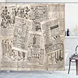 Ambesonne Old Newspaper Shower Curtain, Nostalgic Aged Pages with Antique Advertising Fashion Magazines Retro Print, Cloth Fabric Bathroom Decor Set with Hooks, 75' Long, Black Tan
