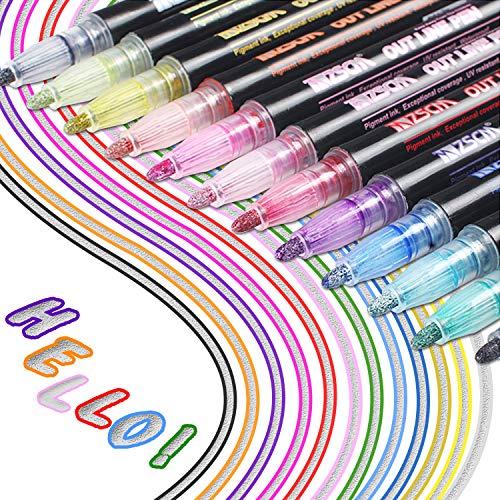 Los bolígrafos de contorno más nuevos, YITHINC 12 colores, bolígrafos de contorno de doble línea, tarjeta de regalo, bolígrafos de dibujo para felicitaciones de cumpleaños, escribir en cuadernos
