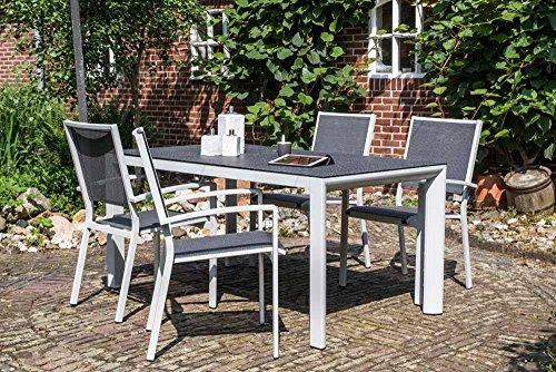 lifestyle4living Grauer Gartentisch aus Alu mit Tischplatte in Steinoptik, Terassentisch ist 160 cm breit, wetterfest und beschert schöne Sommerabend für die Familie