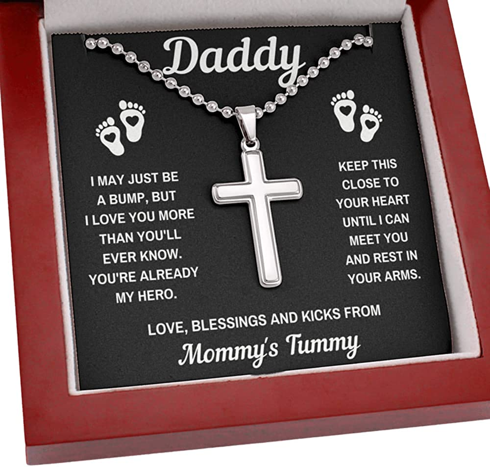 New Dad Cross Necklace Fathers Day Gift From Baby Bump Box To My Daddy Hero Black Artisan Crafted Cross Necklace Pendant Collar with Ball Chain, Message Card and Gift Box