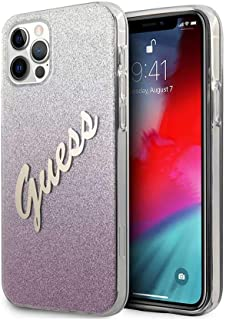 "Guess PC/TPU Script Glitter Hard Case for iPhone 12 Pro Max (6.7"") - Gradient Pink"