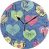 Zseeda Reloj de Pared Corazones de San Valentín Silencioso Sin tictac Operado Redondo Fácil de Leer Hogar Oficina Reloj Escolar